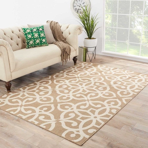 Maison Rouge Ashley Indoor/ Outdoor Medallion Tan/ Cream Area Rug - 9' x 12'