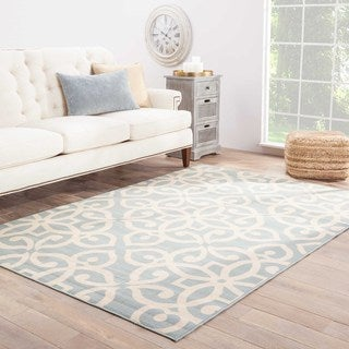 Giselle Indoor/ Outdoor Medallion Blue/ Cream Area Rug (9' X 12')