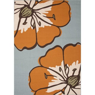 Indoor/Outdoor Floral & Leaves Pattern Blue Polypropylene Area Rug (9x12)