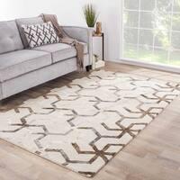 "Stellan Handmade Geometric Gray/ Beige Area Rug (9'6"" X 13'6"")"