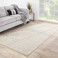 Sera Handmade Geometric Gray/ Off-White Area Rug (9' X 12')