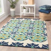 Vilafranca Indoor/ Outdoor Medallion Blue/ Green Area Rug (9' X 12') - 9' x 12'