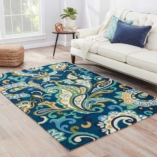 Indoor/Outdoor Floral & Leaves Pattern Blue/Green Polypropylene Area Rug (9x12)