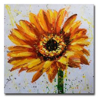 Design Art -Modern Sunflower- Hand Painted Textured Art - 40 x 40