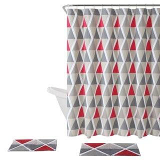 Red shower curtains vibrant fabric bath for Bathroom 94 percent