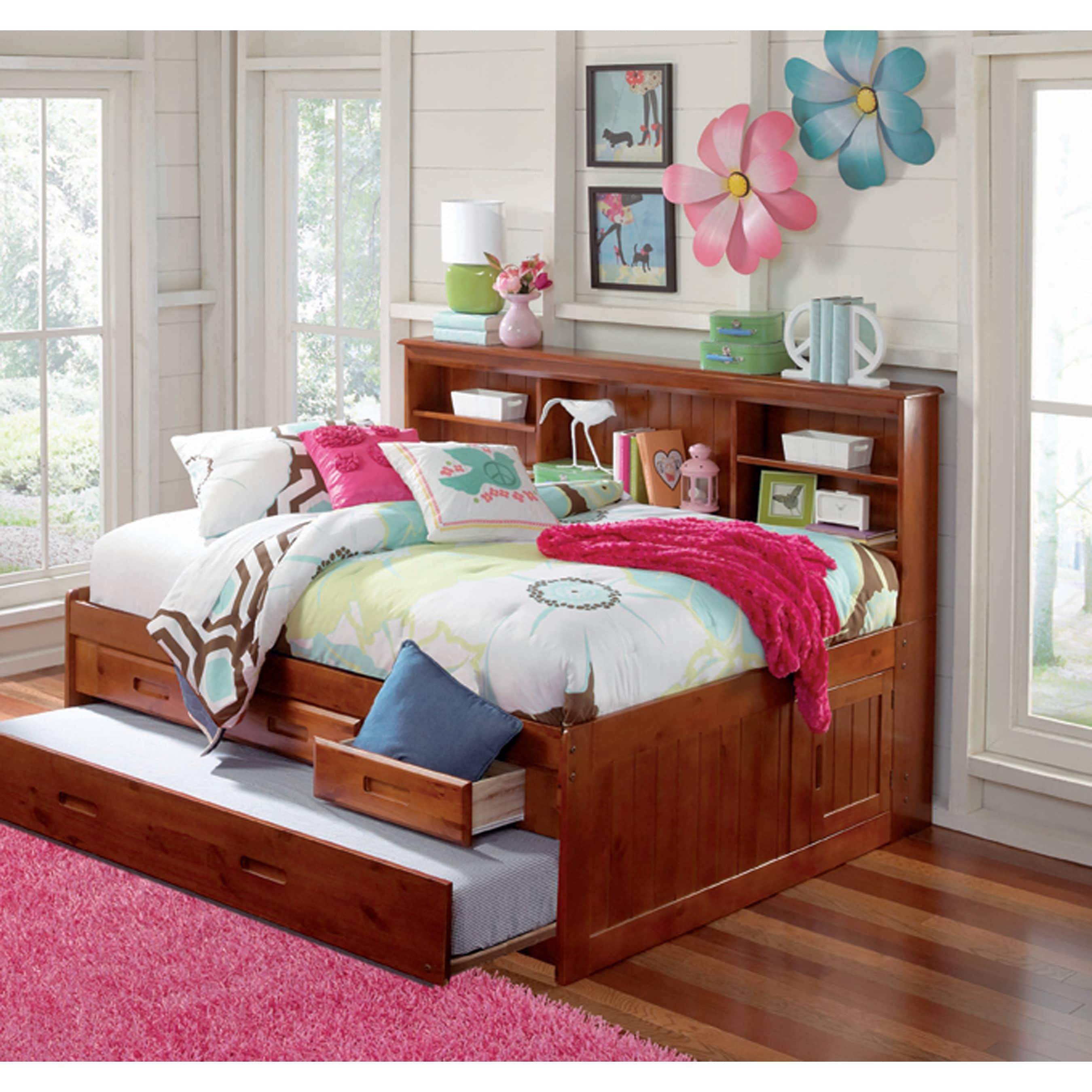 American Full Sized Daybed - 3 Drawers and Twin Trundle (...