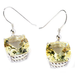 Sterling Silver Cushion Lemon Quartz Dangle Earrings