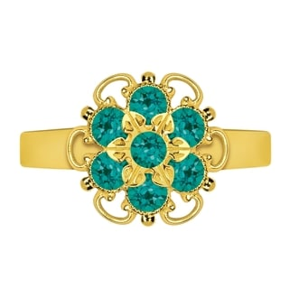 Lucia Costin Sterling Silver Turquoise Green Crystal Ring