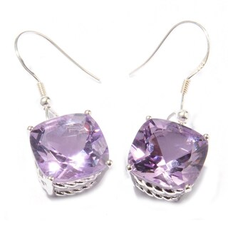 Sterling Silver Cushion Amethyst Dangle Earrings