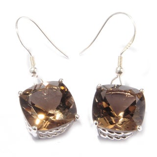 Sterling Silver Cushion Smoky Quartz Dangle Earrings