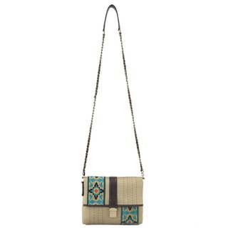 Handmade Ivory Tag Love Across Leather and Fabric Crossbody Bag (India)