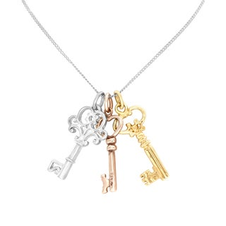 Sterling Essentials Silver 24-inch Tri-color Key Charms Necklace