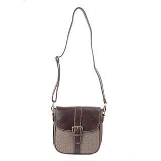Handmade Ivory Tag Brown Leather and Twill Weave Crossbody Bag (India)
