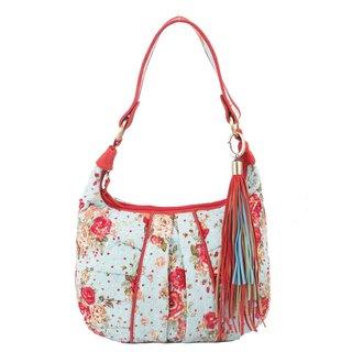 Handmade Ivory Tag Turquoise Blossom Sequin Highlight Handbag (India)