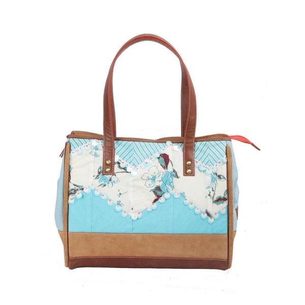 Ivory Tag Sequined Handmade Turquoise Zig-zag Handbag (India)