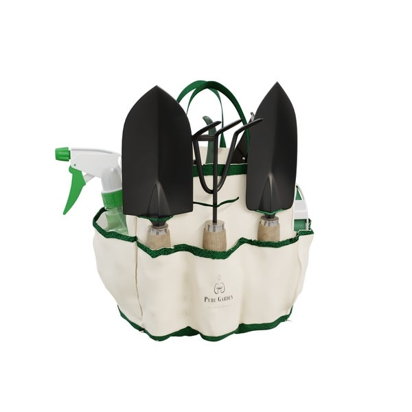 8 Piece Garden Tote and Tool Set- Gardening Hand Tools by Pure Garden