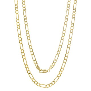 Sterling Essentials 14K Italian Gold 4 mm Concave Figaro Chain (16-30 inches)