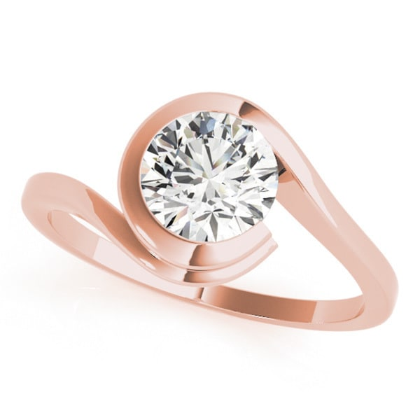 5d53f89ea Shop 14k Gold Modern Swirl Diamond Solitaire Ring 2.20ct - Free ...