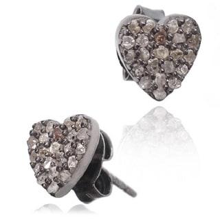 Pori Black Rhodium-plated Sterling Silver 1/3ct TDW Heart Diamond Stud Earrings (H-I, I1-I2)