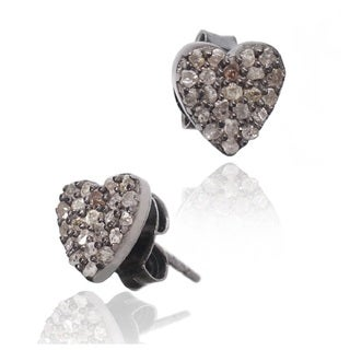 Pori Black over Silver 5/8ct TDW Heart Diamond Stud Earrings (H-I, I1-I2)