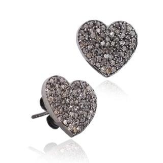 Pori Black over Silver 7/8ct TDW Heart Diamond Stud Earrings (H-I, I1-I2)