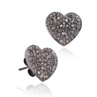 Pori Black over Silver 7/8ct TDW Heart Diamond Stud Earrings