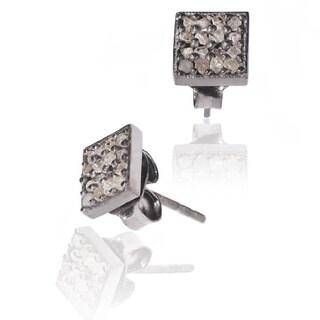 Pori Sterling Silver 1/4ct TDW Princess Diamond Stud Earrings