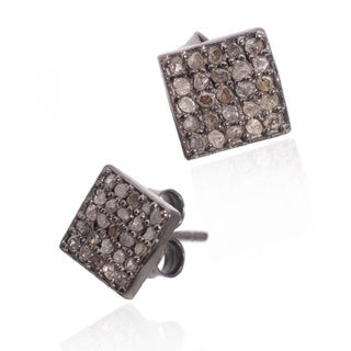 Pori Sterling Silver 2/5ct TDW Square Diamond Stud Earrings