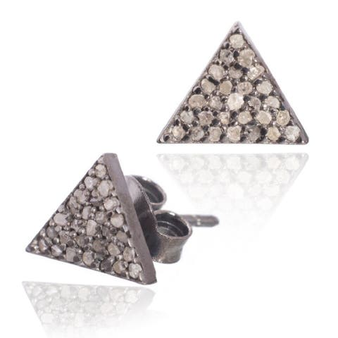 Pori Sterling Silver 2/5ct TDW Triangle Diamond Stud Earrings