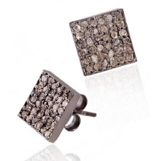 Pori Black Rhodium-plated Sterling Silver 5/8ct TDW Square White Diamond Stud Earrings (H-I, I1-I2)