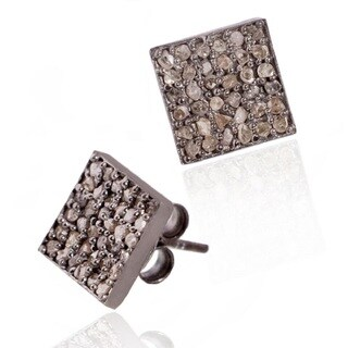 Pori Black Rhodium-plated Sterling Silver 5/8ct TDW Square White Diamond Stud Earrings