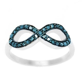 Pori Sterling Silver 1/4ct TDW Sideway Infinity Blue Diamond Ring