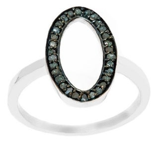 Pori Sterling Silver 1/4ct TDW Open Oval Blue Diamond Ring (H-I, I1-I2)