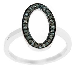 Pori Sterling Silver 1/4ct TDW Open Oval Blue Diamond Ring
