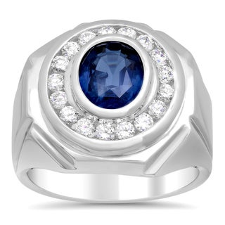 14k White Gold Sapphire and 1ct TDW Diamond Ring