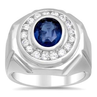 14k White Gold Sapphire and 1ct TDW Diamond Ring