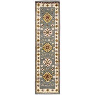 ecarpetgallery Royal Kazak Beige/ Blue Wool Rug (2'9 x 10')