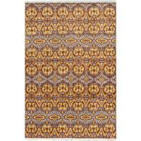 ecarpetgallery Finest Ushak Brown Wool Rug - 6'1 x 9'
