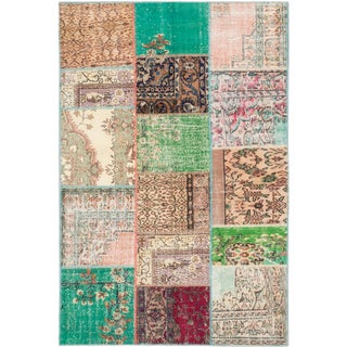 ecarpetgallery Sunwash Patch Beige/ Green Wool Rug (5'9 x 8'9)