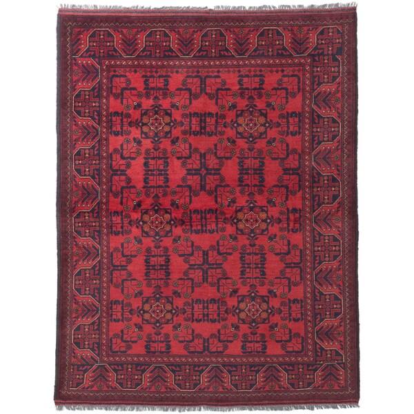 ecarpetgallery Finest Khal Mohammadi Black/ Red Wool Rug (5' x 6'7)