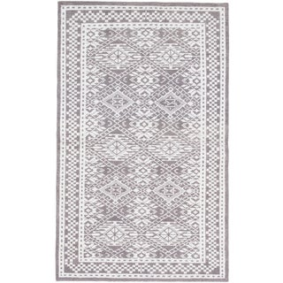 ecarpetgallery La Seda Grey/ White Wool Art Silk Rug - 5' x 8'2