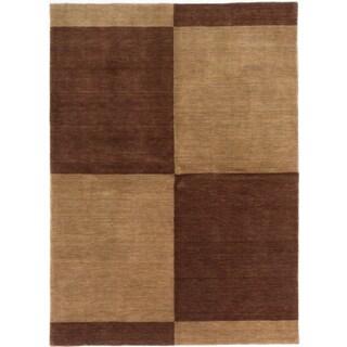ecarpetgallery Luribaft Gabbeh Riz Beige/ Brown Wool Rug (5'9 x 7'11)