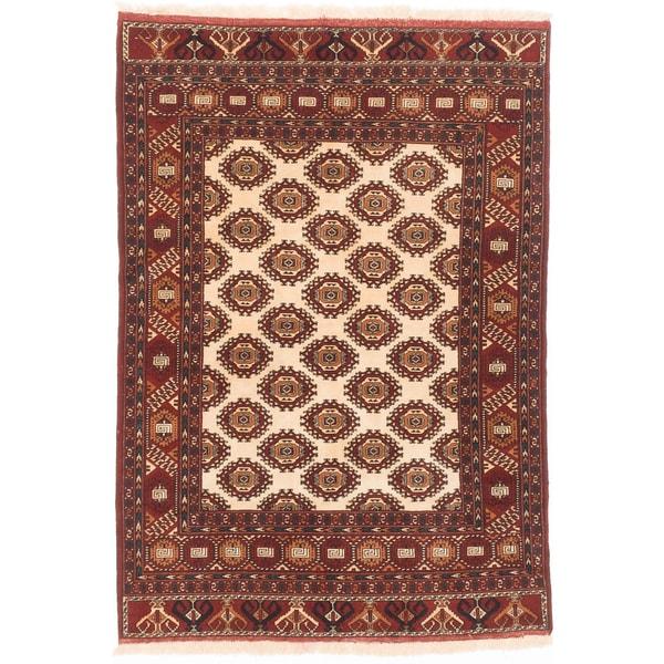ecarpetgallery Shiravan Bokhara Beige/ Red Wool Rug - 4'6 x 6'6