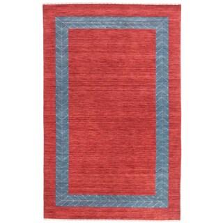 ecarpetgallery Kashkuli Gabbeh Red Wool Bordered Rug (4' x 6')