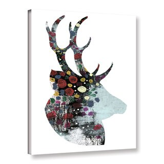 ArtWall Sarah Ogren's Floral Deer, Gallery Wrapped Canvas