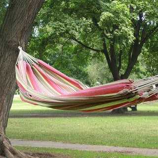 Adeco Cotton Fabric Canvas Hammock Tree Hanging Suspended Outdoor Indoor Bed