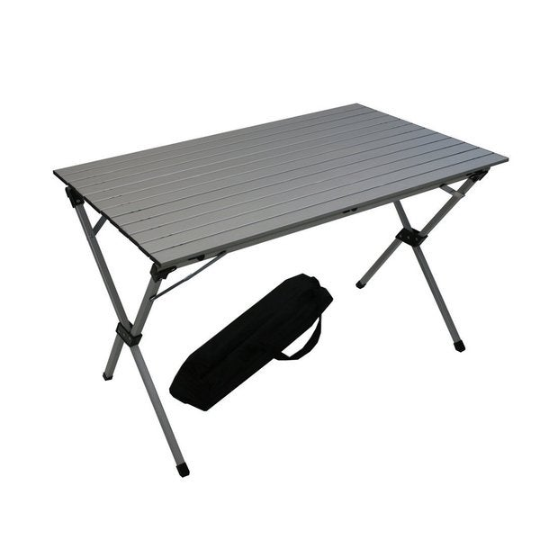 shop silver aluminum large portable picnic table in a bag free shipping today overstock. Black Bedroom Furniture Sets. Home Design Ideas