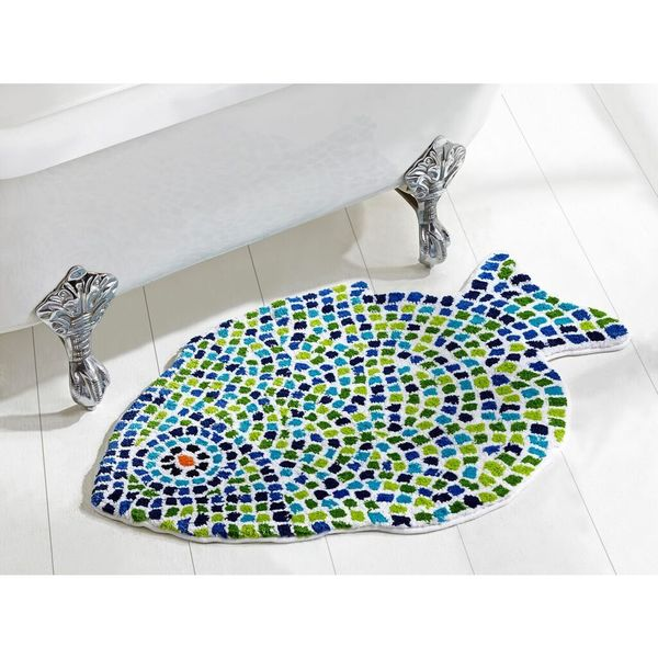 Fish mosaic bath rug by better trends free shipping for Fish bath rug
