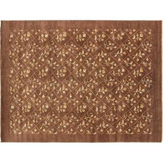 Oushak Kamboujiya Brown Hand-knotted Rug (9' x 12')