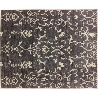 Oushak Khordad Black Hand-knotted Rug (8' x 9'10)